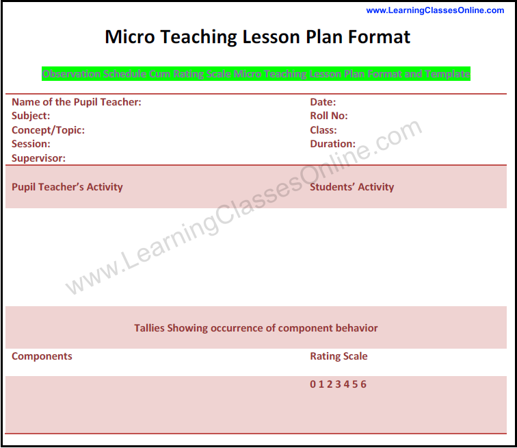 microteaching lesson plan format and template, how to make micro teaching lesson plan, micro lesson plan format download pdf free, components of micro teaching lesson plan