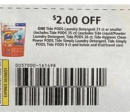 """2.00/1-Tide Pods Laundry Detergent 31 ct + Or Smaller Coupon from """"P&G"""" insert week of 4/25/21(exp 5/30)."""