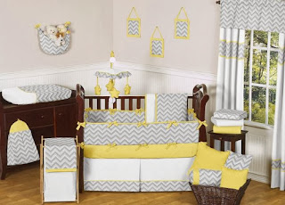 Gray and Yellow Chevron Zig Zag Unisex Baby Bedding 9pc Girl or Boy Crib Set