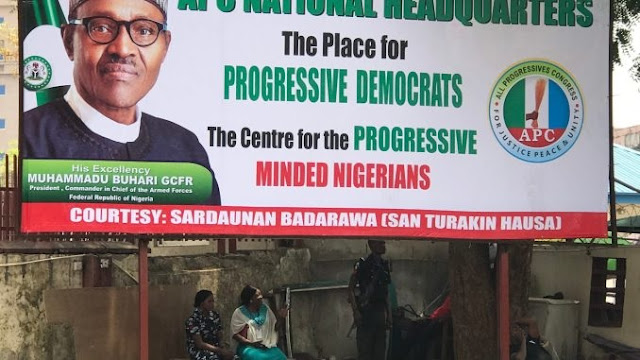 BREAKING: APC Removes Oshiomhole's Picture, Banner From National Secretariat [PHOTO]