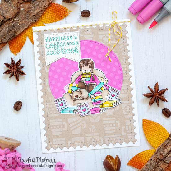 Coffee and Books Card by Zsofia Molnar | Sips & Stories Stamp Set, Mugs Stencil, Circle Frames Die Set, Framework Die Set and Slimline Frames & Windows Die Set by Newton's Nook Designs #newtonsnook #handmade