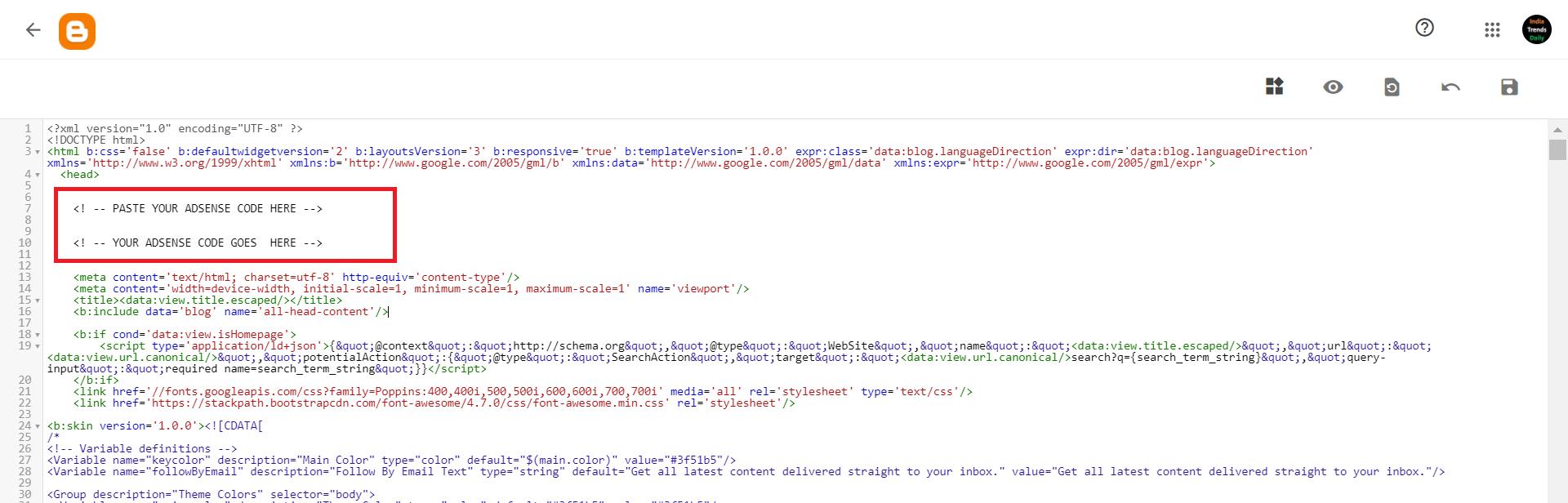 google adsense place html code