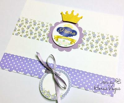 convite artesanal infantil aniversário princesa sofia lilas branco dourado menina