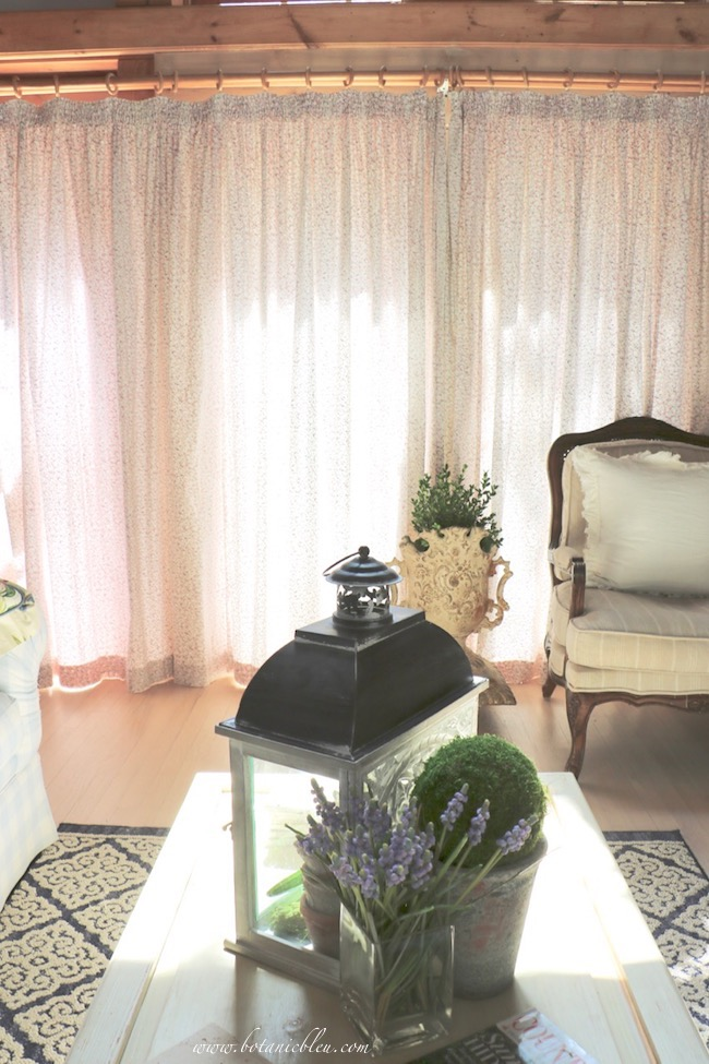 Summer French Country Living Room Closed Curtains Help Reduce Heat