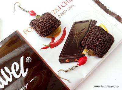 szydełkowe kolczyki, czekolada Wawel