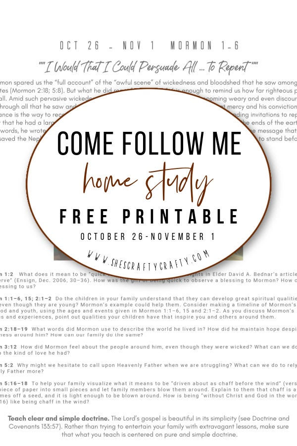 Come Follow Me Free Printable Oct 26-Nov 1