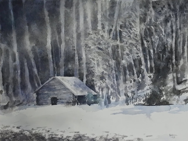 watercolour painting of barn in melting snow during spring in Sweden by Adam Stolterman