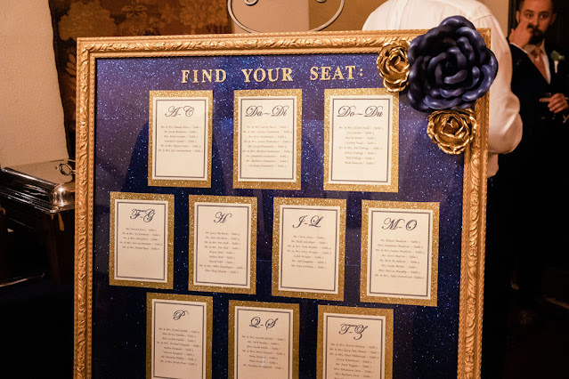 wedding seating chart in navy