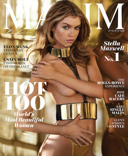 hot model stella maxwell topless photo shoot maxim magazine cover