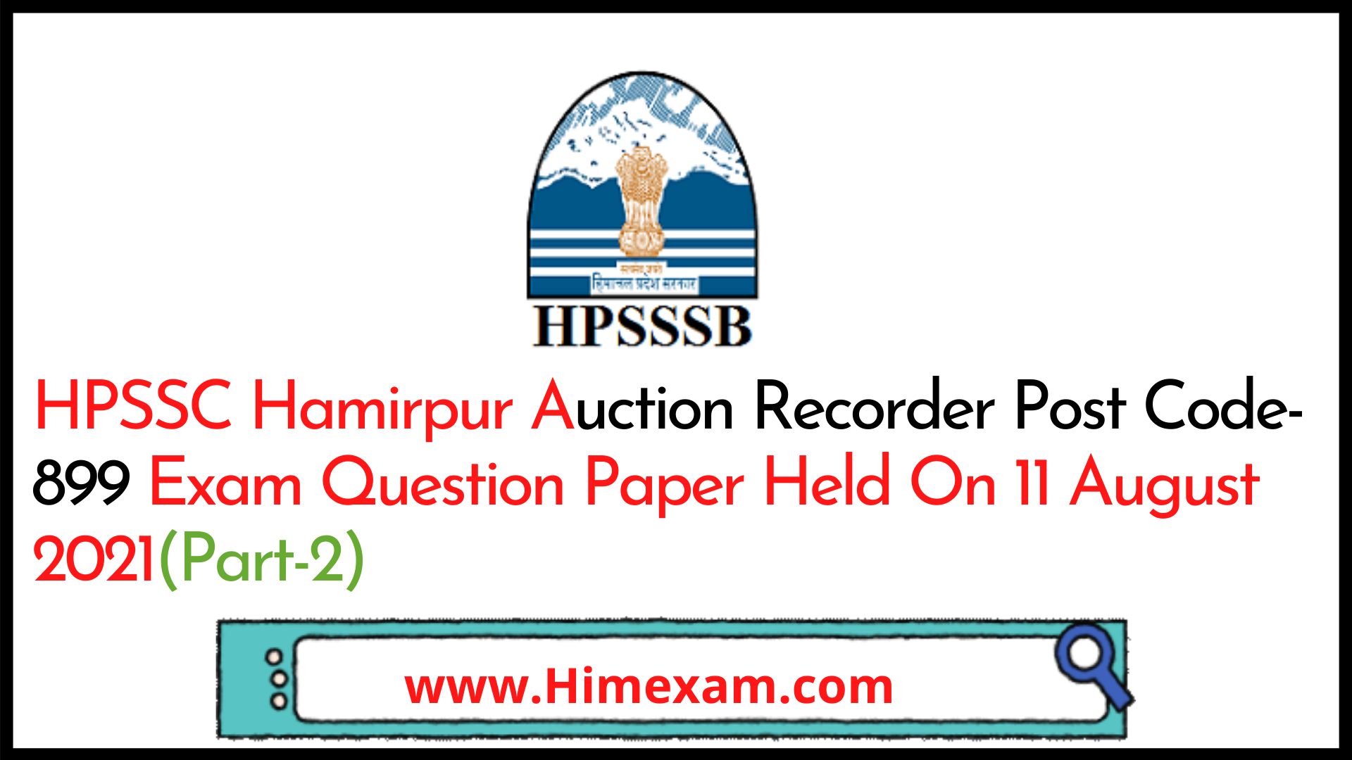 HPSSC Hamirpur  Auction Recorder Post Code-899 Exam Question Paper Held On 11 August 2021(Part-2)