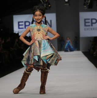 Source: Epson Singapore. A child model in an outfit from the digitally printed ELEMENTS collection.