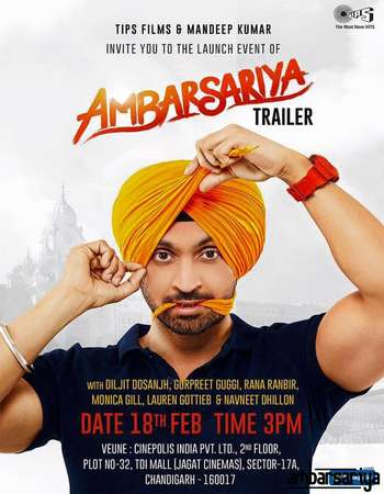Poster Of Ambarsariya 2016 Punjabi 700MB DVDScr Xvid Free Download Watch Online