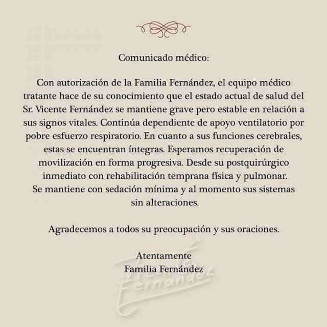 Vicente Fernandez se mantiene en terapia intensiva tras una caída accidental
