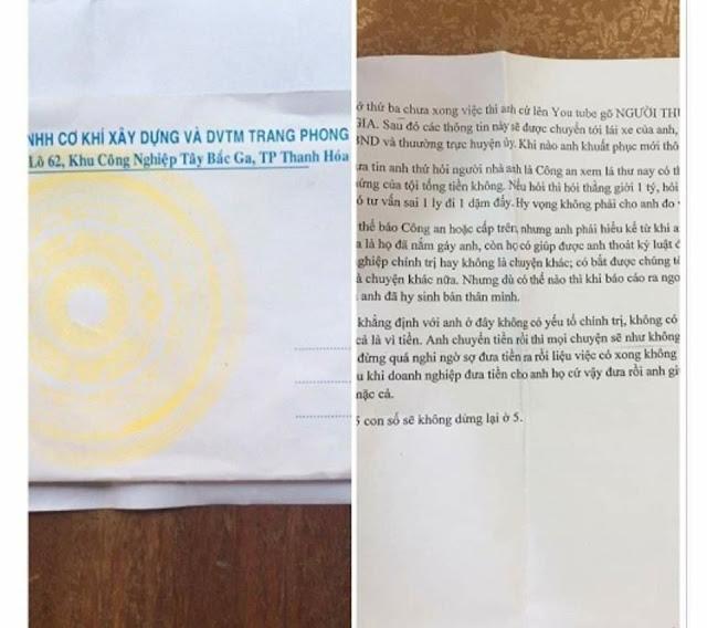 Nội dung bức thư tống tiền 5 tỉ PCT thị xã Nghi Sơn Thanh Hóa