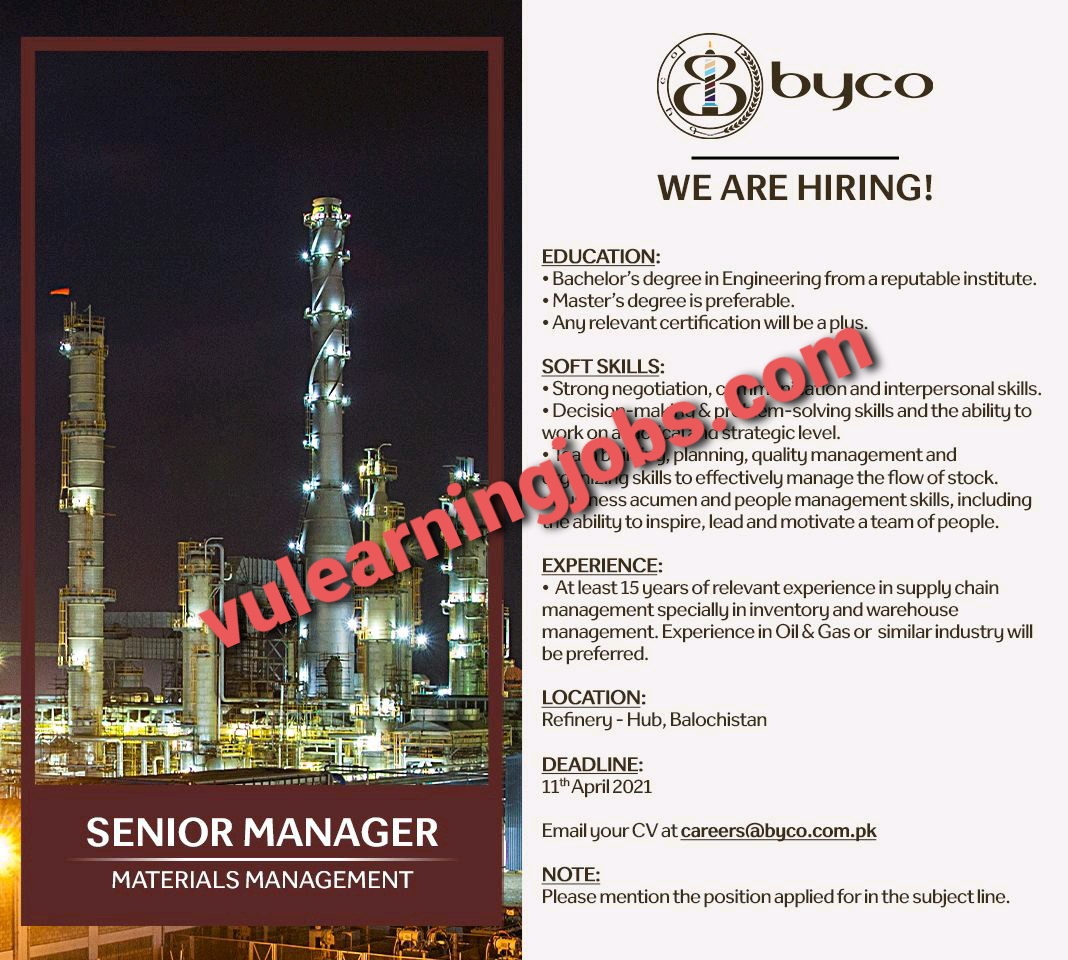 Byco Petroleum April Jobs In Pakistan 2021 Latest | Apply Now