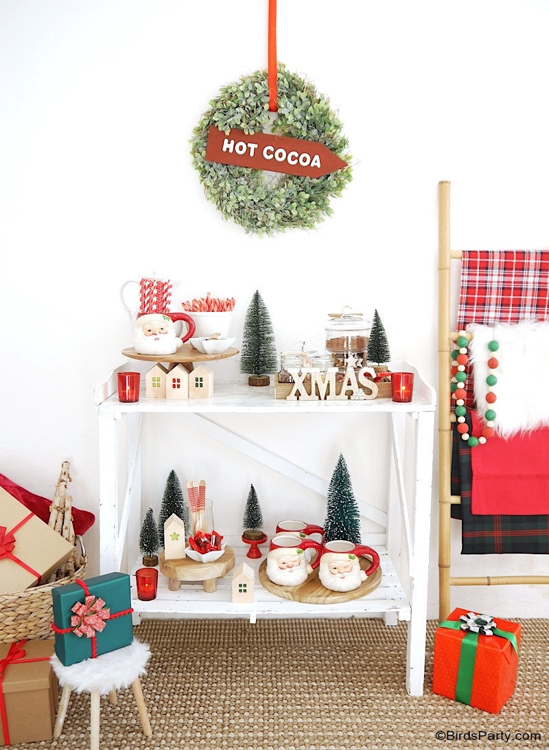 How to Set Up a Hot Chocolate Bar for The Holidays - festive Christmas decor, hot cocoa bar toppings and ideas for styling a hot drinks station at home! by BirdsParty @birdsparty.com #hotcocoa #hotcocoabar #hotchocolate #hotchocolatebar #hotcocoastation #hotchocolatestation #christmas #christmashotcocoabar #christmashotchocolate #christmashotcocoa #holidayhotcocoabar #christmasdecor #farmhousedecor #farmhousechristmas #cocoabar #coffeestation #coffeebar