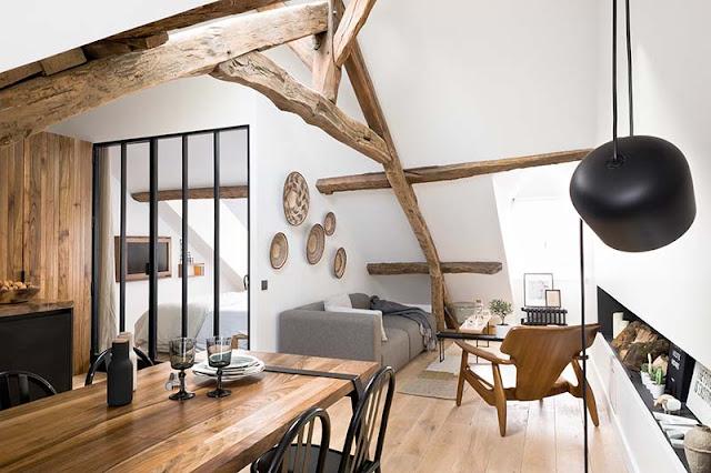appartement poutres bois et blanc