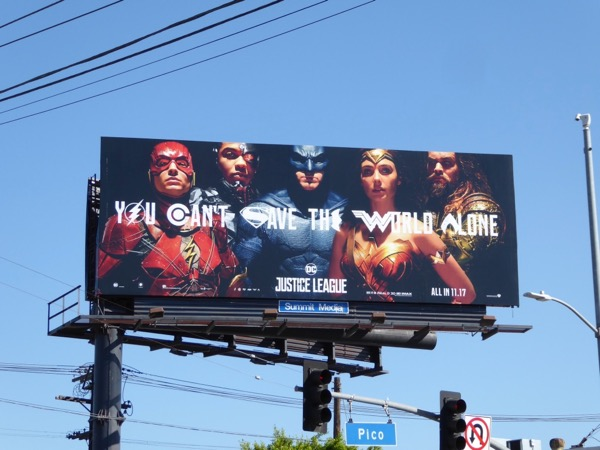 Justice League movie billboard