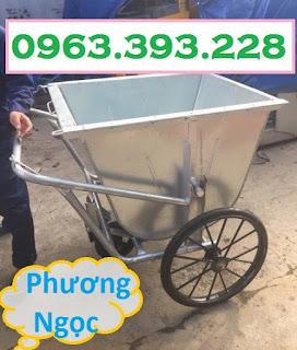 Xe gom rác 3 bánh 400L, xe gom rác bằng tôn, xe đẩy rác 400 Lít, xe thu gom rác  Bgj1554869189
