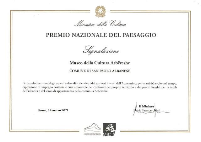 Il Museo della Cultura Arbëresh riceve un premio dal Ministero della Cultura italiano
