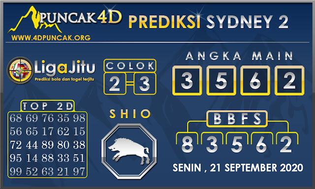 PREDIKSI TOGEL SYDNEY2 PUNCAK4D 21 SEPTEMBER 2020
