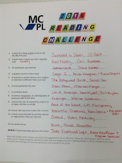 Completed MCPL Reading Challenge form