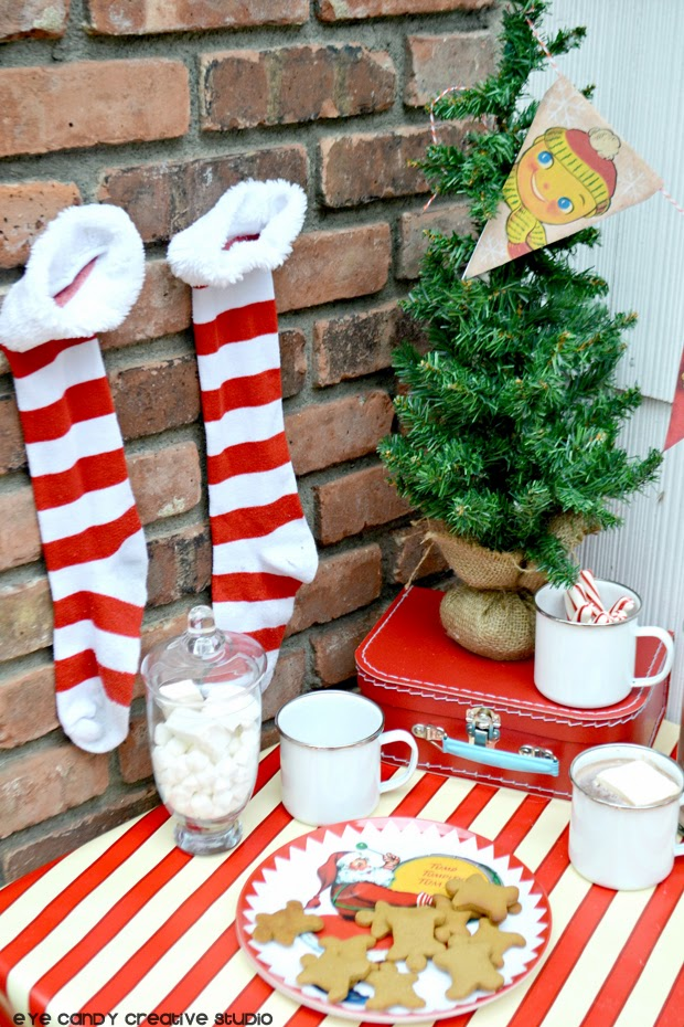 striped stockings, vintage plates, santa, cocoa bar
