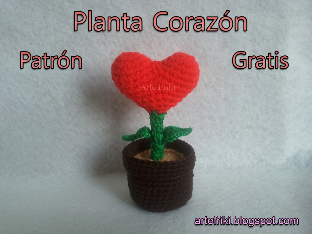 Planta corazon amigurumi patron gratis tutorial paso a paso crochet ganchillo heart plant how to free cute kawaii