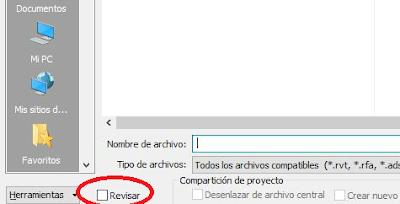 pantallazo de Revit: casilla revisar proyecto