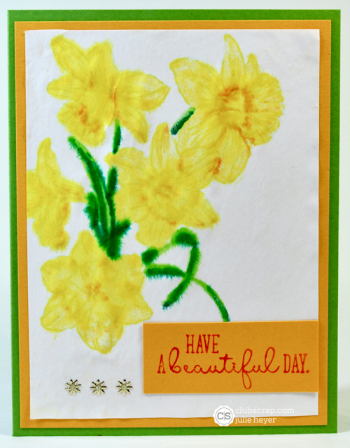 Club Scrap Daffodils Card with Faux No Lines Technique #clubscrap #daffodils #markers #rubberstamps #card