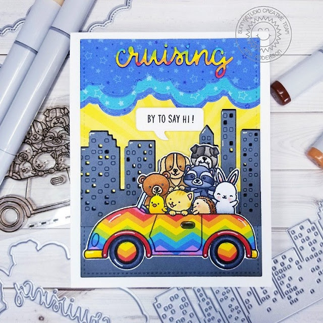 Sunny Studio Stamps: Cruising Critters Cityscape Border Dies Fluffy Clouds Border Dies Hello Friendship Card by Ana Anderson