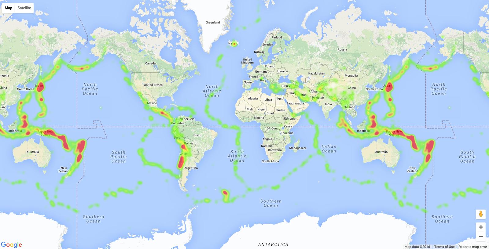 Qingkai's Blog: Plot earthquake heatmap on Basemap and Google Map
