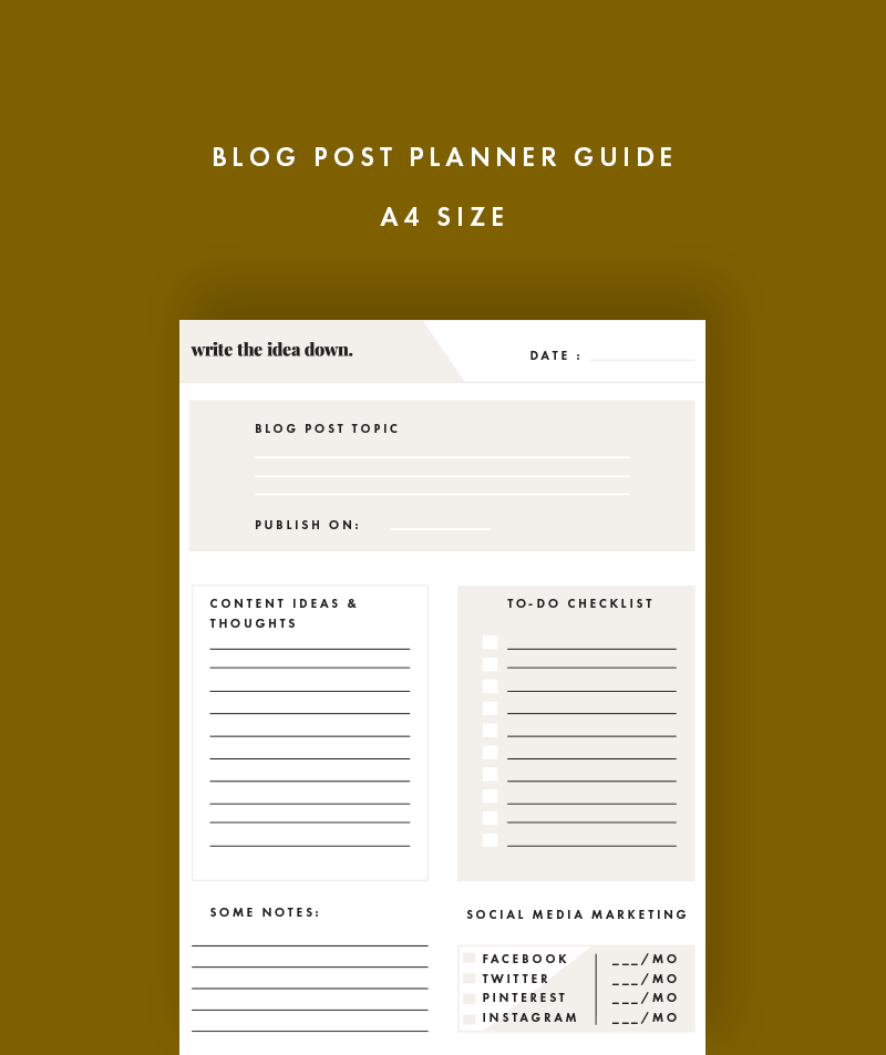 blog post planner guide
