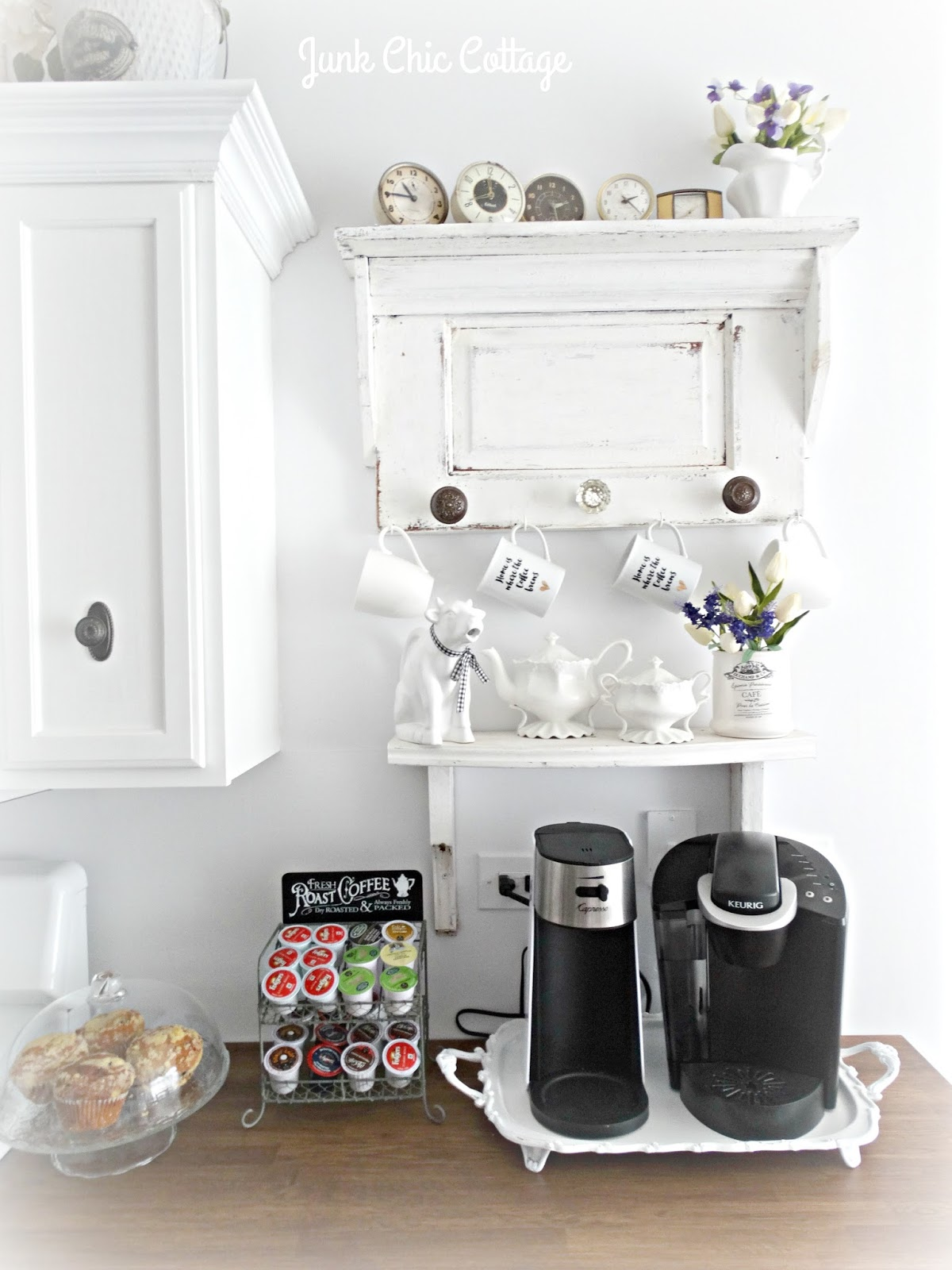 Junk chic cottage kitchen reveal for Things in a coffee bar