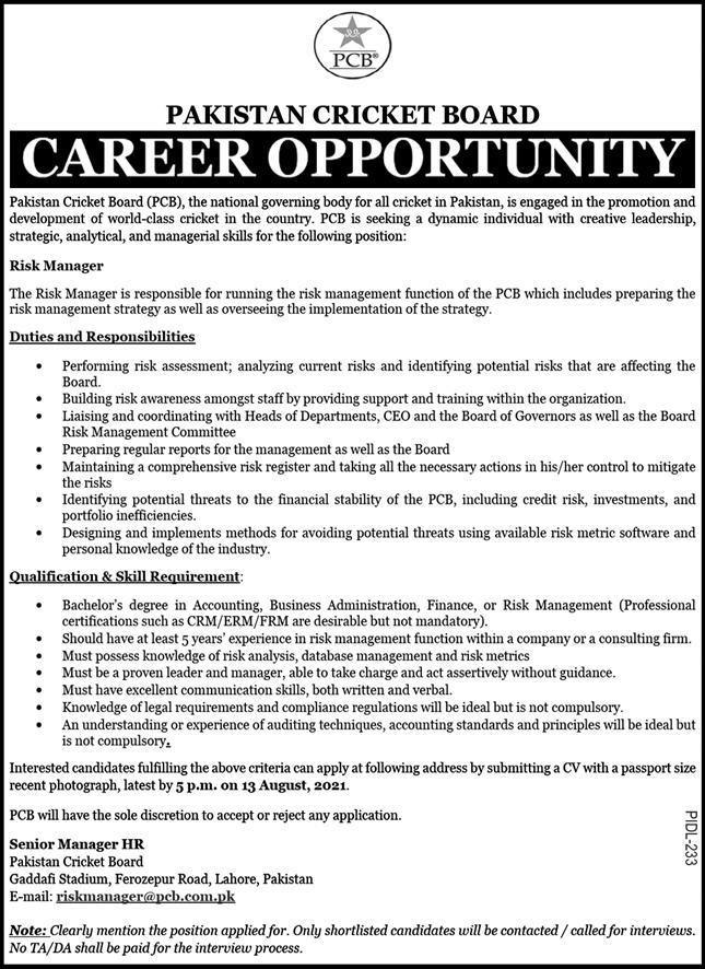Pakistan Cricket Board PCB Jobs 2021 – www.pcb.com.pk