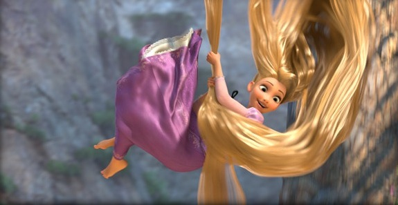 Rapunzel, smiling excitedly, lowering herself past stone walls by her long golden hair