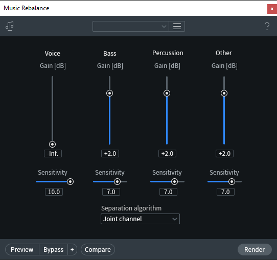 iZotope RS 7 settings for Voxal