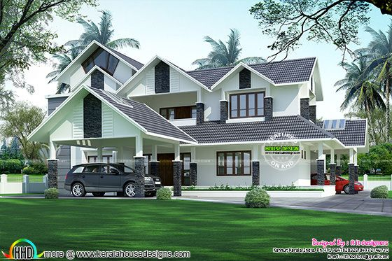 Luxurious 2 Car Porch House Kerala Home Design And Floor
