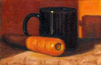 Oil painting of a carrot beside a dark blue porcelain mug.