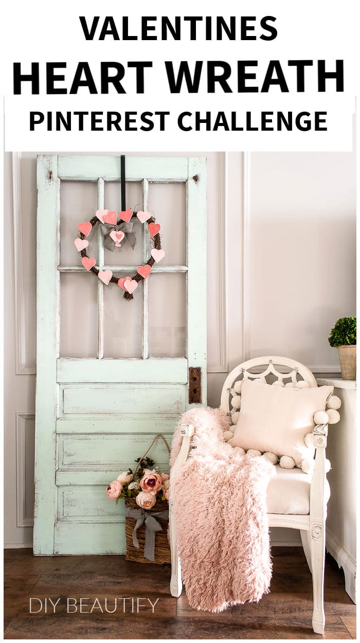 Valentine's Day DIY heart shaped wreath on front door