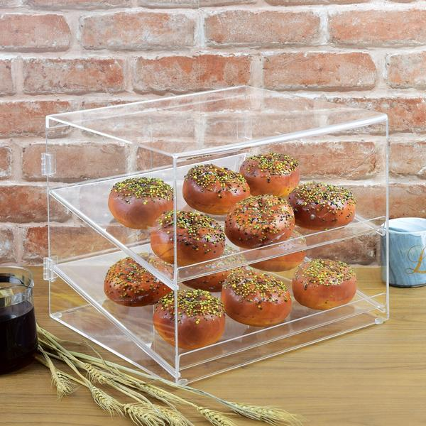 12 Donuts inside the Clear Acrylic Pastry Case from Nile Corp