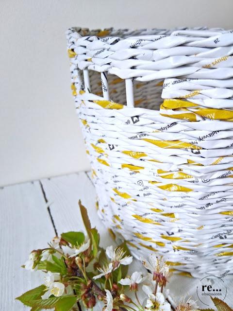 basket, paper wicker, paper weaving, gold, papierowa wiklina, koszyk