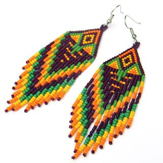 купить серьги в этническом стиле купить украшения ручной работы из бисера