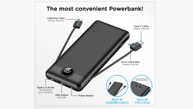 VEGER VP1115 10000mAh with Built-In Charging Cables