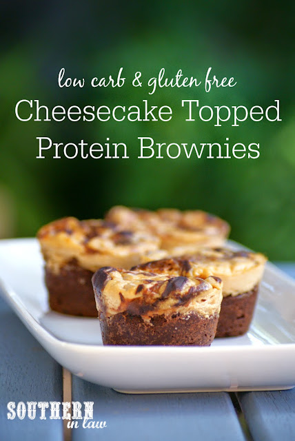 Healthy Cheesecake Topped Protein Brownies - low fat, gluten free, high protein, low carb, low calorie, grain free