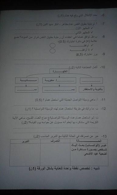 مستوى الأولى ثانوي إعدادي:نموذج فرض التربية الإسلامية وفق مقاربة الكفايات