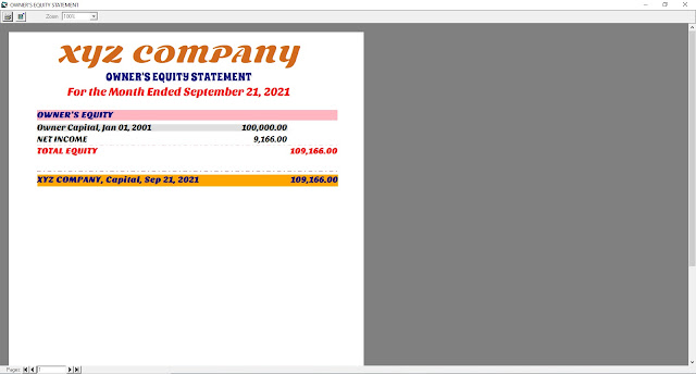 Owner's Equity Statement