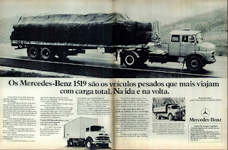 propaganda caminhão Mercedes-Benz 1519 - 1977. propaganda anos 70. propaganda carros anos 70. reclame anos 70. Oswaldo Hernandez..