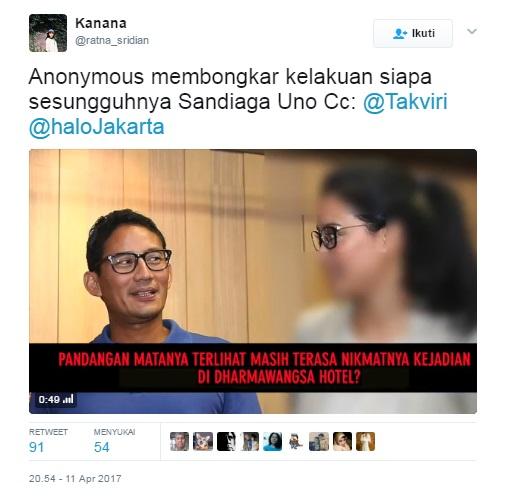 HEBOH! Beredar Video Anonymous membongkar skandal Sandiaga Uno dengan artis berinisial MZ TP DN di Dunia Maya