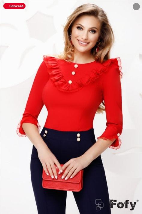 Bluza eleganta dama rosie cu volane dantela si nasturi perle